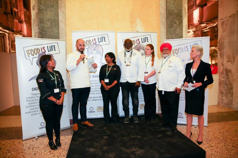 Chefs gather at the event in Milan